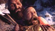 Kratos chokes Baldur