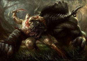 Kratos vs Minotauro