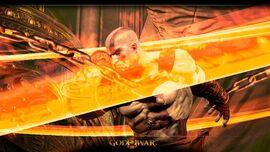 Kratos atacando con las Espadas del Exilio