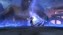 Kratos utilizando la Ira de Poseidón