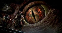 Kratos y Atreus ante el ojo de Jörmungandr