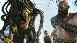 Mimir junto a Atreus y Kratos