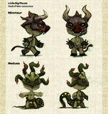 Bocetos del Minotauro y Medusa en LittleBigPlanet