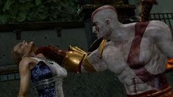 Hera siendo asesinada por Kratos