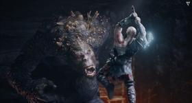 Kratos frente a un ogro con el hacha leviatan