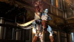 Kratos cortándole las piernas a Hermes