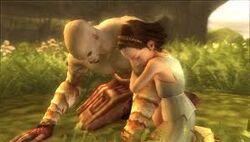 Kratos y su hija en los campos elíseos