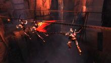 Kratos contra Soldados Hoplita sobre una cuerda en Esparta