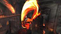 Kratos usando la Plaga de Thera en Creta