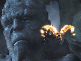 Kratos sobre Pegaso frente a Tifon