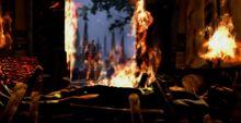 Orkos cadavere casa kratos fiamme