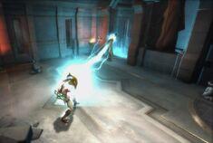 Kratos usando el Ojo de Atlantis contra una Medusa