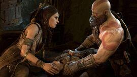 Freya con Kratos y Atreus