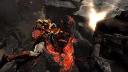 Kratos atacando a Perses