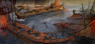 Barcos destruidos en el Mar Egeo