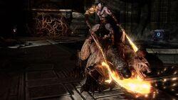 Kratos montando un Cerbero Mestizo