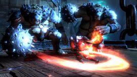Kratos contra dos Cíclopes Ejecutores