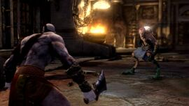 Kratos frente a un Demonio Sátiro
