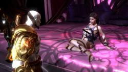 Afrodita provocando a Kratos