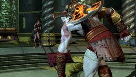 Kratos con la Princesa de Poseidon