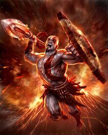 Kratos con las Armas de Esparta