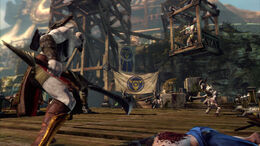 Kratos portando una Espada de Entorno