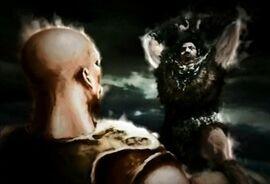 El rey apunto de aplastar a Kratos con su martillo