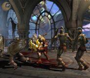 Il Colosso in lontananza,mentre Kratos è impegnato contro i soldati,prima di battersi con lui