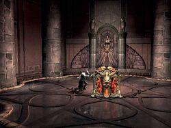 Kratos empujando la Caja de Pandora