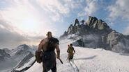 Kratos e Atreus na montanha