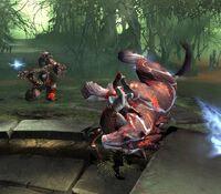 Kratos a punto de asesinar al Caballo del Rey Bárbaro