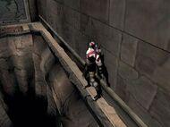 Kratos pasando por la cornisa