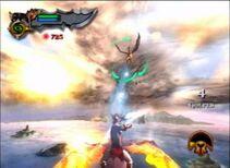 Kratos usando la perdicion de tifon en contra de los grifos y sus jinetes