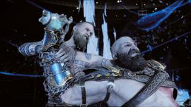 Baldur y Kratos peleando por el Bifröst