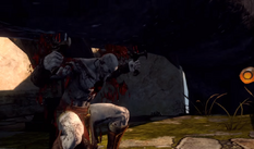 Aletto tentativo schiacciare kratos tentacoli piede apollo GoW Ascension