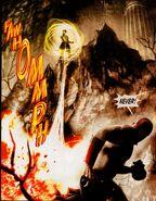 Cereyon atacando a Kratos con sus rafagas de fuego