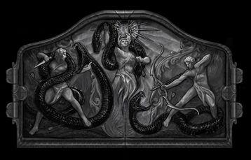 Puerta de Apolo contra Pitón en el Templo de Delfos