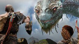 Kratos y Atreus mostrándole a Jörmungandr la cabeza de Mimir
