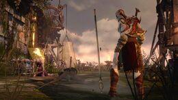 Kratos junto a una Lanza de Entorno