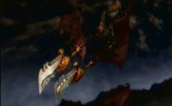 Arpía con las espadas del caos