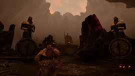 Kratos en el Puente de Tyr de Muspelheim