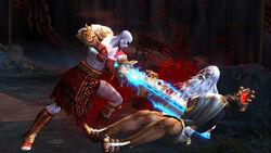 Kratos empalando a Zeus con la Espada del Olimpo
