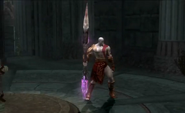 Kratos con la lanza del destino