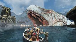 Kratos y Atreus adentrándose en la boca de Jörmungandr