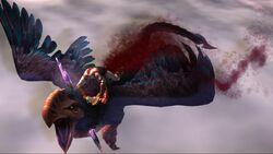 Kratos tras atravesar con la Lanza del Destino al Grifo Oscuro