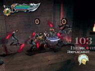 Kratos matando a los soldados de Ares