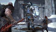 Kratos e Atreus contra o cavaleiro