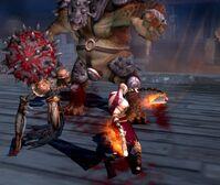 Cíclope Ejecutor junto a un Espectro atacando a Kratos