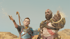 Atreus y Kratos esparciendo las cenizas de Faye