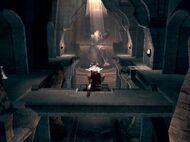 Kratos pulsando la palanca
